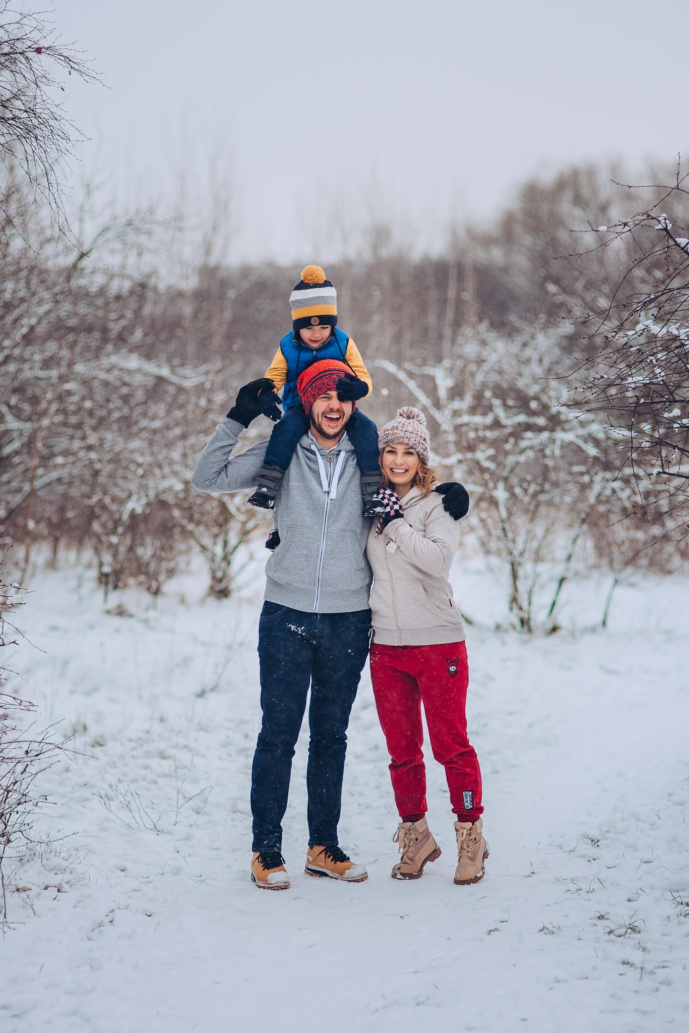zimowa sesja rodzinna warszawa wilanow