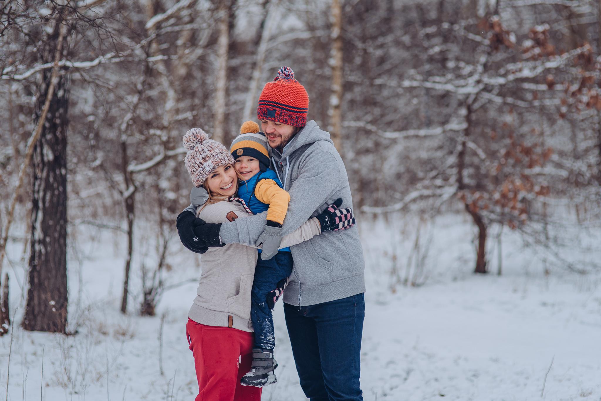 zimowa sesja rodzinna warszawa wilanow piaseczno