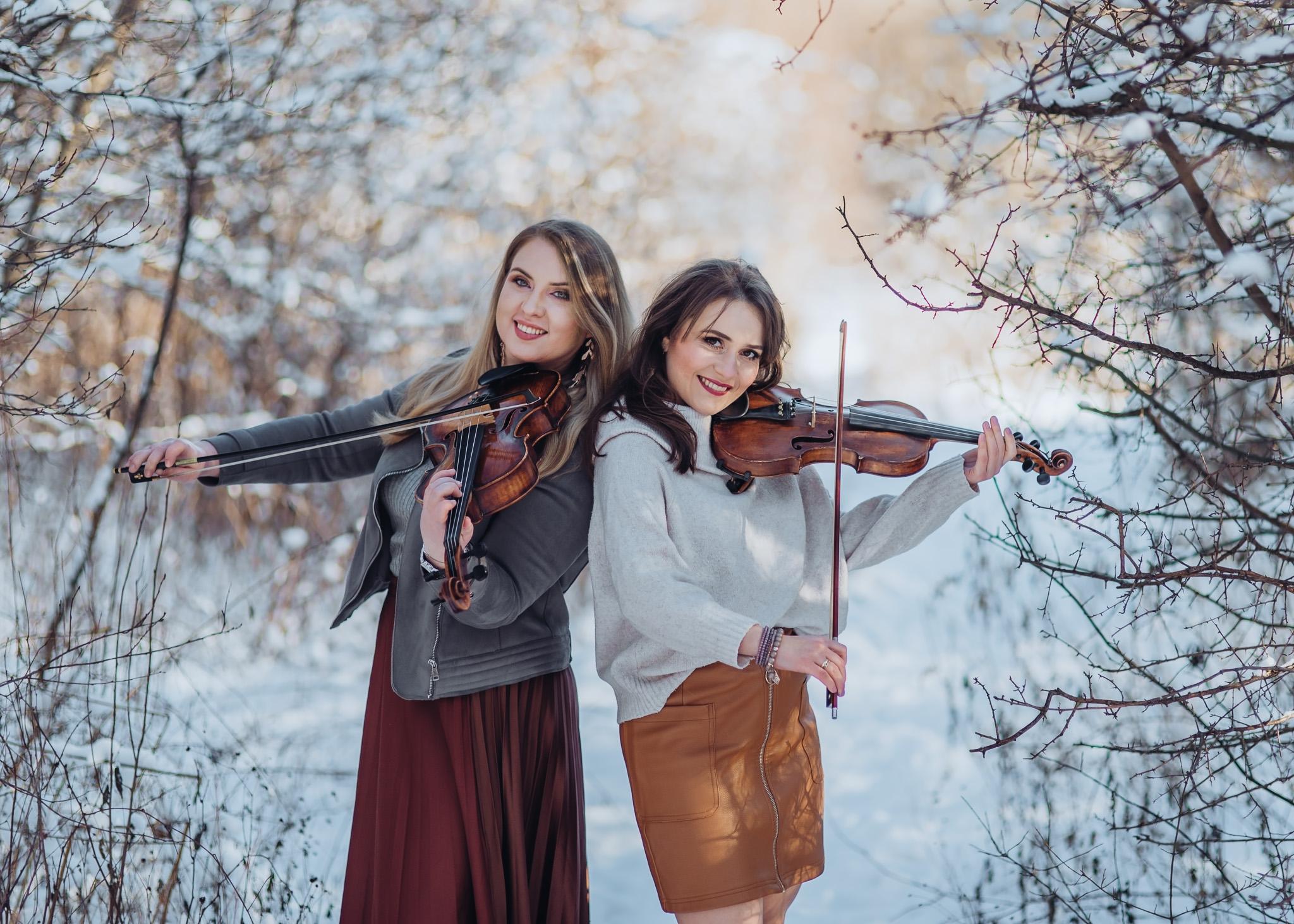 zimowa sesja portretowa ze skrzypcami warszawa wilanow