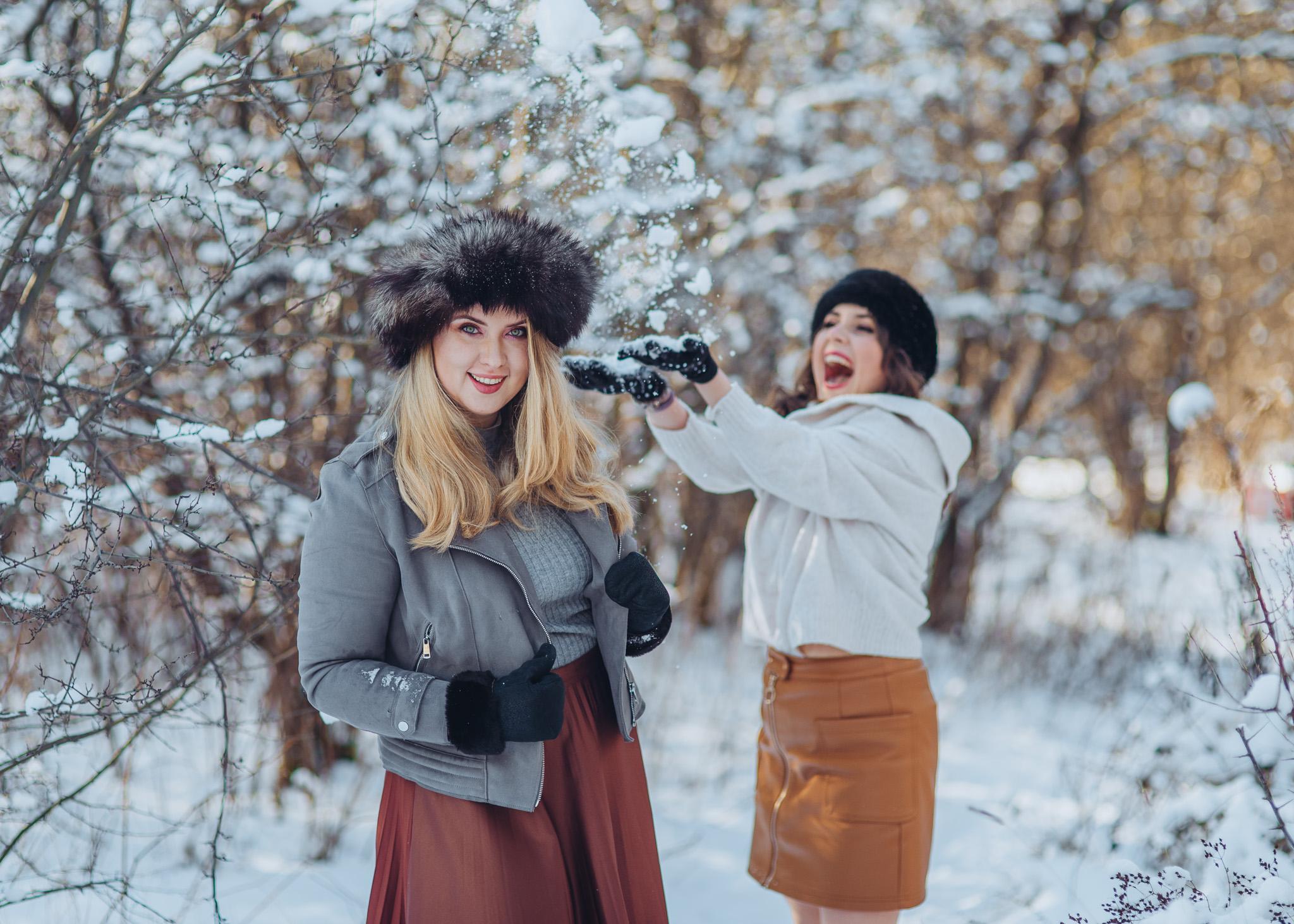 sesja przyjaciółek w śniegu warszawa piaseczno konstancin wilanow
