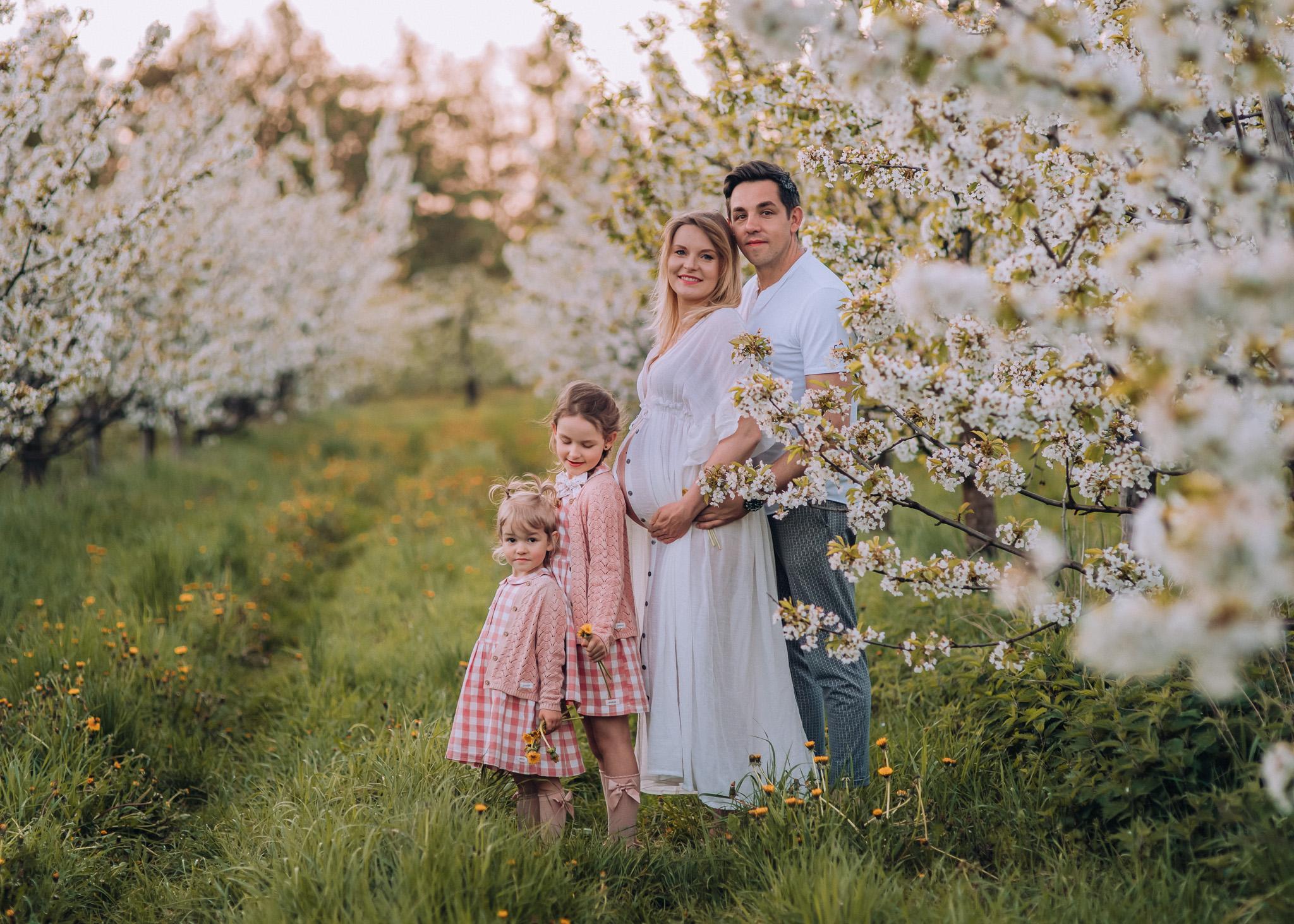 wiosenna sesja rodzinna i ciążowa w kwitnącym sadzie pod warszawa fotografia tarczyn konstancin wilanów piaseczno