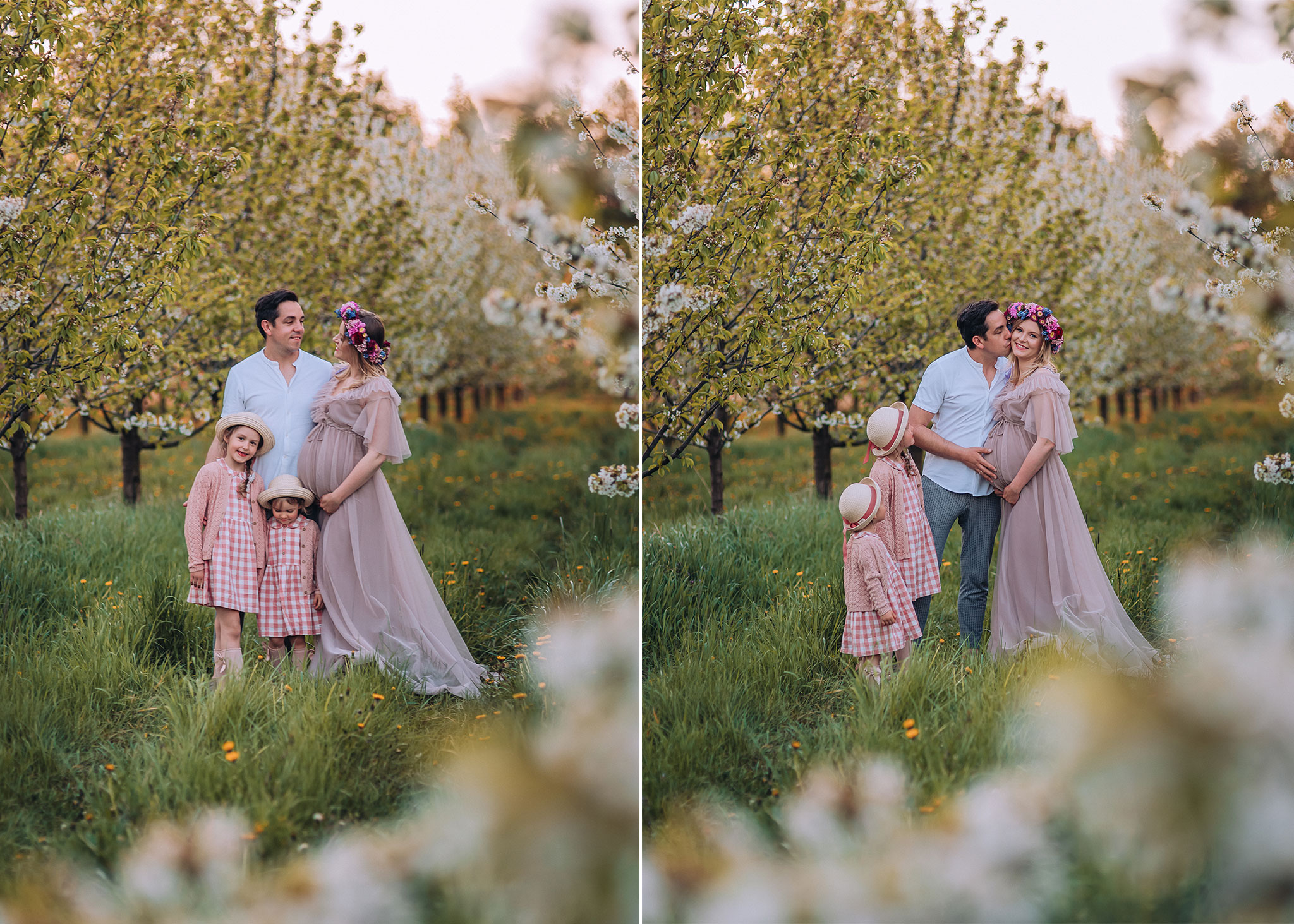 rodzinne zdjecia w kwitnacym sadzie warszawa tarczyn konstancin piaseczno wiosna
